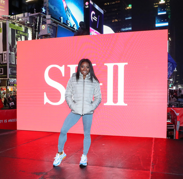 Olympic Gymnast Simone Biles appears in Times Square for SK-II Beauty Campaign on March 03, 2020 in New York City. (Photo by Arturo Holmes/Getty Images)