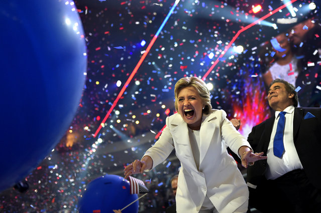 Hillary Clinton celebrates on stage after accepting the Presidential nomination at the Democratic National Convention in Philadelphia on July 28, 2016. (Photo by Michael Robinson Chavez/The Washington Post)
