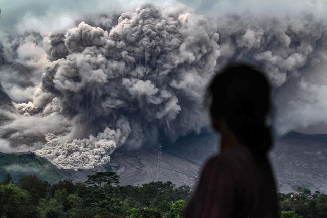 An Indonesian woman watches an eruption from the Mount Sinabung volcano from Tiga Pancur village, in Karo in North Sumatra on November 3, 2017. Sinabung roared back to life in 2010 for the first time in 400 years. After another period of inactivity it erupted once more in 2013, and has remained highly active since. (Photo by Ivan Damanik/AFP Photo)