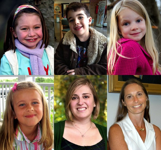 Some of the victims: (top row) Six-year-olds Olivia Engel and Noah Pozner, Emilie Alice Parker, (bottom row) Grace McDonnell, teacher Lauren Rousseau and school principal Dawn Lafferty Hochsprung. (Photo by Associated Press)