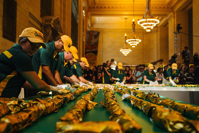 Nathan's workers participate in the event filling and wrapping up the hotdogs as Nathan's Famous attempts to break the Guinness World Record title for world's longest line of hot dogs, in Vanderbilt Hall in Grand Central Terminal in Manhattan, New York, USA, 02 September 2016, In celebration of its 100th anniversary. (Photo by Alba Vigaray/EPA)