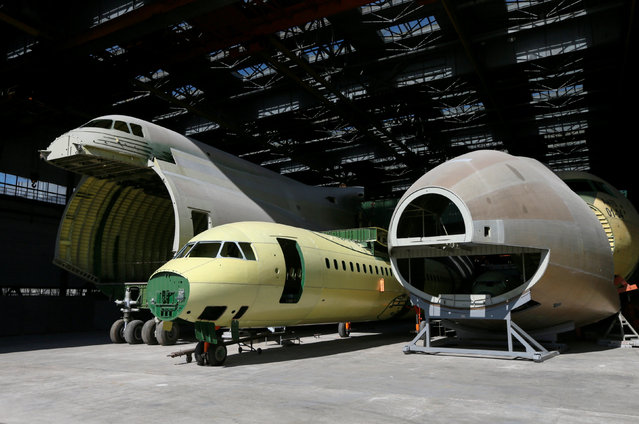 Parts of an airframe for the second Antonov-225 Mriya plane (L and R) are seen at Antonov aircraft plant in Kiev, Ukraine, September 7, 2016. (Photo by Valentyn Ogirenko/Reuters)