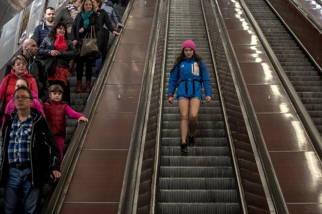 "A woman wearing no pants participates in the ""No Pants Subway Ride"" in Prague, Czech Republic, 07 January 2018. (Photo by Martin Divisek/EPA/EFE)"