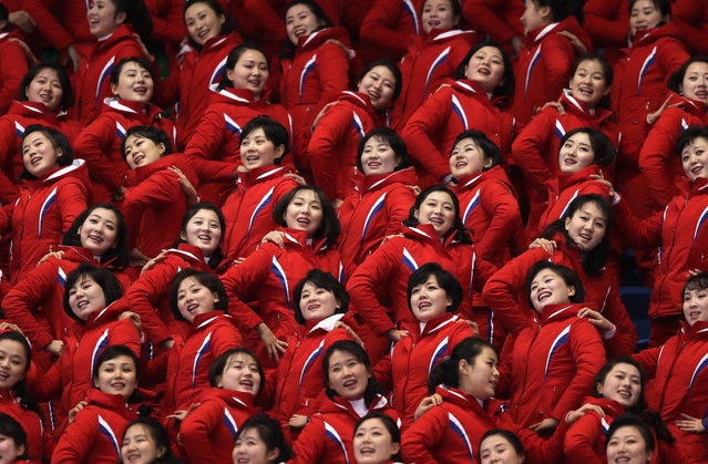 North Korean cheeleaders attend the Men's 1500m Short Track Speed Skating qualifying on day one of the PyeongChang 2018 Winter Olympic Games at Gangneung Ice Arena on February 10, 2018 in Gangneung, South Korea. (Photo by Richard Heathcote/Getty Images)