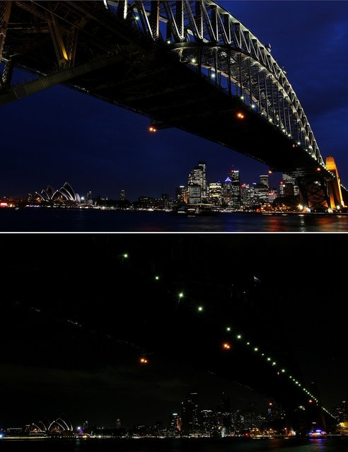 In this composite image the Sydney Harbour Bridge is seen before on March 21 (top) and after the lights were switched off to recognize Earth Hour on March 23, 2013 in Sydney, Australia. Businesses and households around the world will turn their lights off for one hour at 20:30 local time today, to celebrate Earth Hour, raise awareness about climate change and to show support for the use of renewable energy. Earth hour began in Sydney in 2007 and is now celebrated in over 150 countries around the world. (Photo by Lisa Maree Williams)