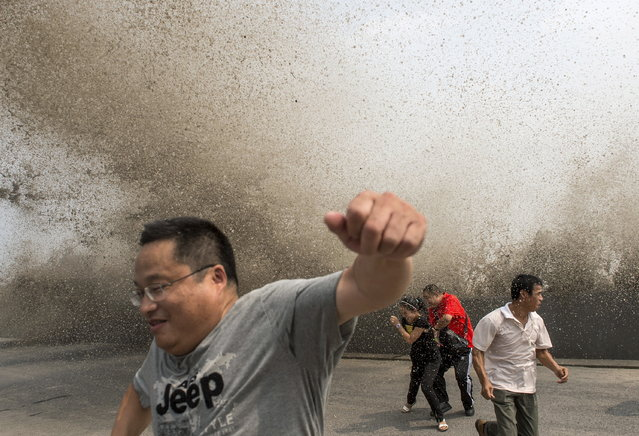 Visitors run away from a wave caused by a tidal bore which surged past a barrier on the banks of Qiantang River, in Hangzhou, Zhejiang province, China, August 30, 2015. (Photo by Reuters/China Daily)