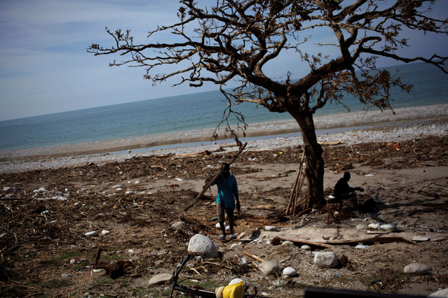 A man carries sticks after Hurricane Matthew in Chardonnieres, Haiti, October 10, 2016. (Photo by Andres Martinez Casares/Reuters)