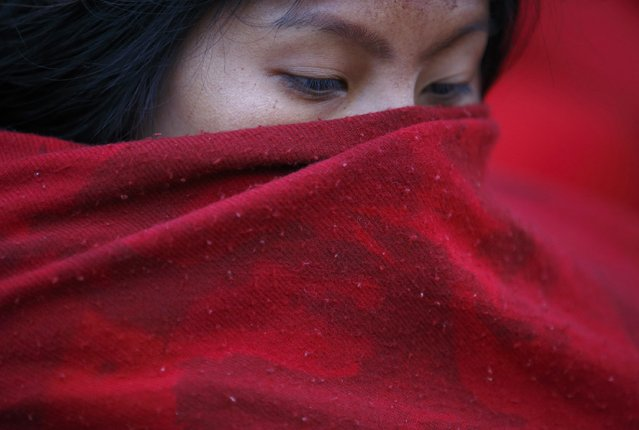 A devotee covers her face after taking a holy bath during the Swasthani Brata Katha festival in Kathmandu January 20, 2015. (Photo by Navesh Chitrakar/Reuters)