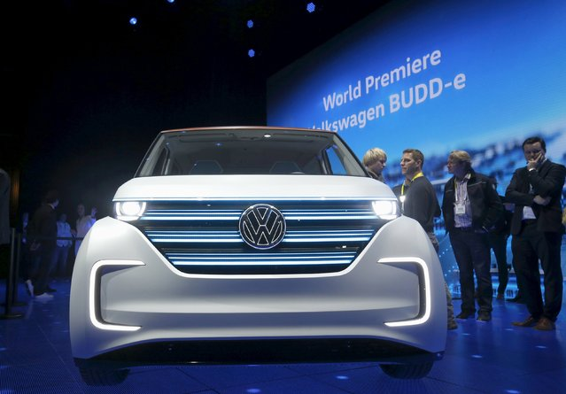 The Volkswagen BUDD-e electric vehicle is displayed during a keynote address at the 2016 CES trade show in Las Vegas, Nevada January 5, 2016. (Photo by Steve Marcus/Reuters)