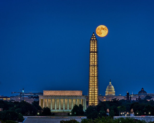 Photographer Tom Finzel took this photo of the harvest moon abutting the Washington Monument over D.C. on September 19, 2013. (Photo by Tom Finzel)