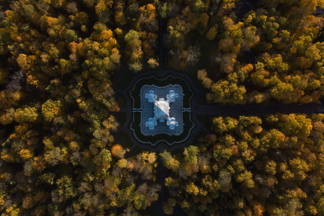 An aerial view of the Hermitage pavilion in Catherine Park, at the Tsarskoye Selo museum estate in St Petersburg, Russia on October 15, 2018. (Photo by  Anton Vaganov/TASS)