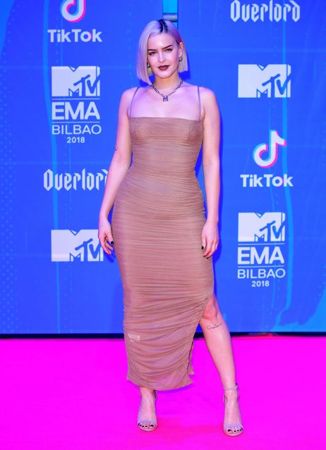 Anne-Marie attends the MTV EMAs 2018 on November 4, 2018 in Bilbao, Spain. (Photo by PA Wire)