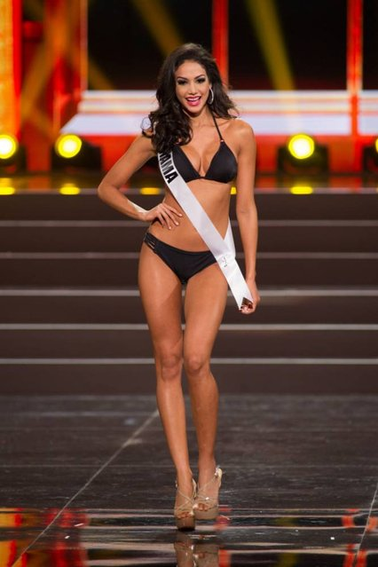This photo provided by the Miss Universe Organization shows Carolina Brid, Miss Panama 2013, competes in the swimsuit competition during the Preliminary Competition at Crocus City Hall, Moscow, on November 5, 2013. (Photo by Darren Decker/AFP Photo)