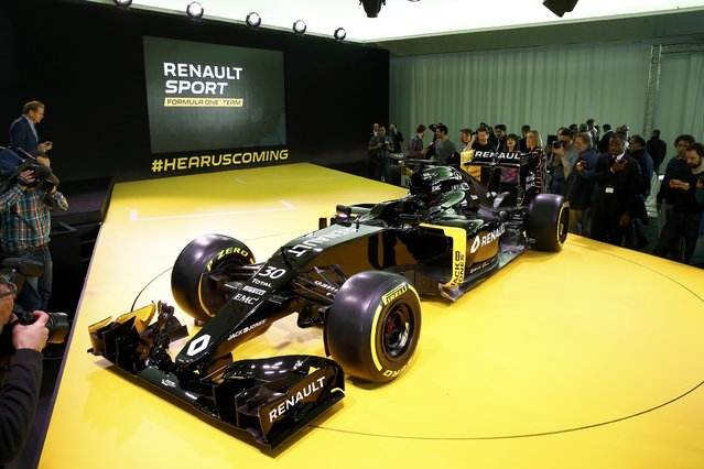 The new Renault RS16 Formula One racing car is seen during its official presentation at the company's research center, the Technocentre, in Guyancourt, near Paris, France, February 3, 2016. (Photo by Benoit Tessier/Reuters)