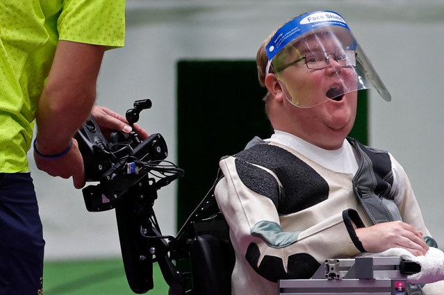 Philip Jonsson of Sweden reacts after winning gold and setting a new Paralympic record in the mixed 10m air rifle standing SH2 final at Asaka Shooting Range in Tokyo, Japan on August 30, 2021. (Photo by Issei Kato/Reuters)