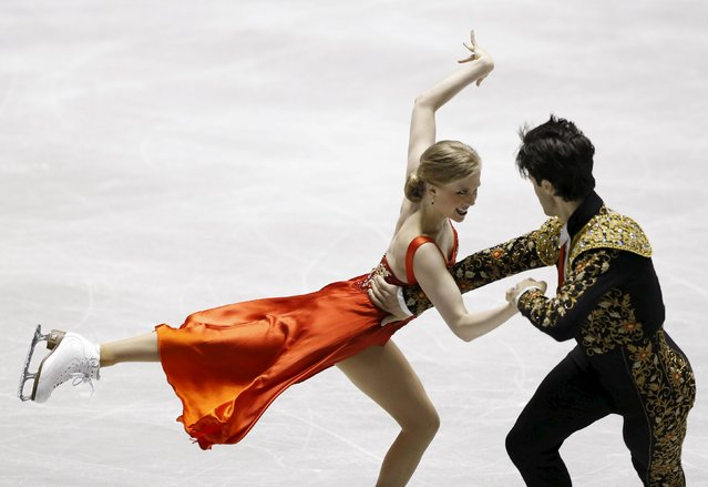 Kaitlyn Weaver and Andrew Poje of Canada compete during the ice dance short dance program at the ISU World Team Trophy in Figure Skating in Tokyo April 16, 2015. (Photo by Yuya Shino/Reuters)