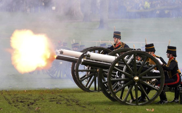Guns are fired during the King's Troop Royal Horse Artillery Royal 41-gun salute to mark the start of Queen Elizabeth's Blue Sapphire Jubilee year at Green Park in central London, Britain, February 6, 2017. (Photo by Hannah McKay/Reuters)