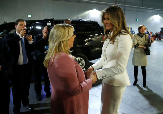 U.S. first lady Melania Trump and Sara Netanyahu speaks after visiting the African American Museum of History and Culture in Washington, U.S., February 15, 2017. (Photo by Joshua Roberts/Reuters)