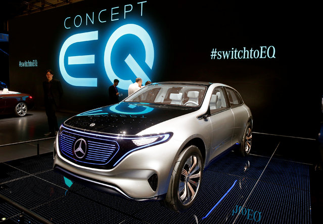 A Mercedes-Benz Concept EQ car is seen during the 87th International Motor Show at Palexpo in Geneva, Switzerland March 8, 2017. (Photo by Arnd Wiegmann/Reuters)