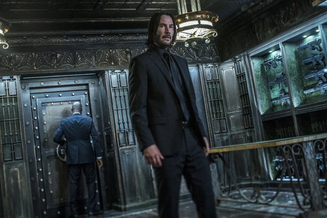 "This image released by Lionsgate shows Keanu Reeves in a scene from ""John Wick: Chapter 3 – Parabellum"". The third installment of the hyper violent Keanu Reeves franchise has taken the top spot at the North American box office and ending the three-week reign of ""Avengers: Endgame"". Studios on Sunday, May 19, 2019, say ""John Wick: Chapter 3 – Parabellum"" has grossed an estimated $57 million in its opening weekend.  (Photo by Niko Tavernise/Lionsgate via AP Photo)"