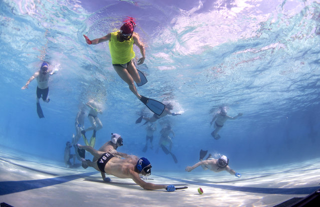 In this Friday, June 26, 2015 photo, players battle for the puck as a referee, above, watches during the underwater hockey national championships in Santa Clarita, Calif. (Photo by Mark J. Terrill/AP Photo)