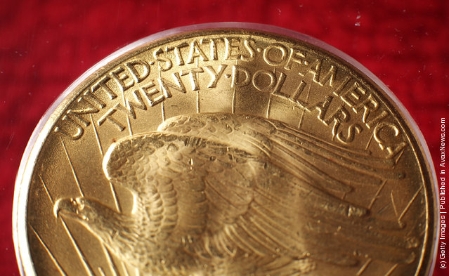 A 'Double Eagle' gold twenty dollar coin