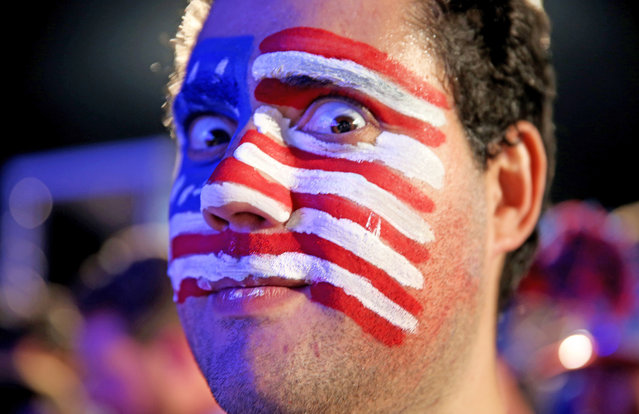 USA soccer fan waits for their team's game against Portugal at the FIFA Fan Fest on Copacabana beach June 22, 2014 in Rio de Janeiro, Brazil. (Photo by Joe Raedle/Getty Images)