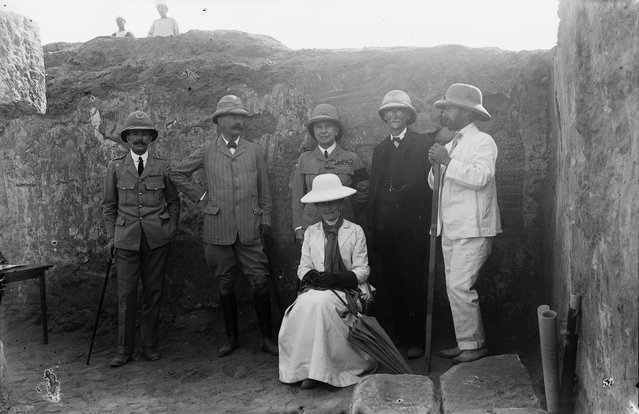 Remarkable discoveries were made, like the decapitated head of a bronze statue of Roman emperor Augustus, sacked from a raid on Roman garrisons further north in Egypt. Here: A group visiting the excavations at Meroë, including (from left) Midwinter Bey, director of Sudan Railways; Lord Kitchener; General Sir Francis Reginald Wingate, Sirdar of the Egyptian Army; Professor Archibald Sayce; John Garstang; and Lady Catherine Wingate, 1911. (Photo by Garstang Museum of Archaeology)