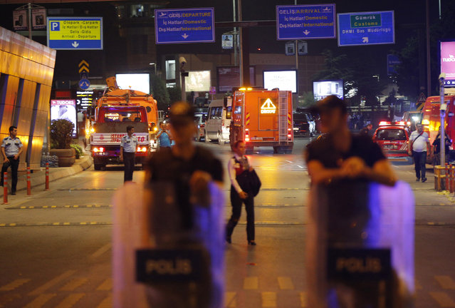 Turkish police secure the entrance to Istanbul's Ataturk airport, early Wednesday, June 29, 2016. (Photo by Emrah Gurel/AP Photo)