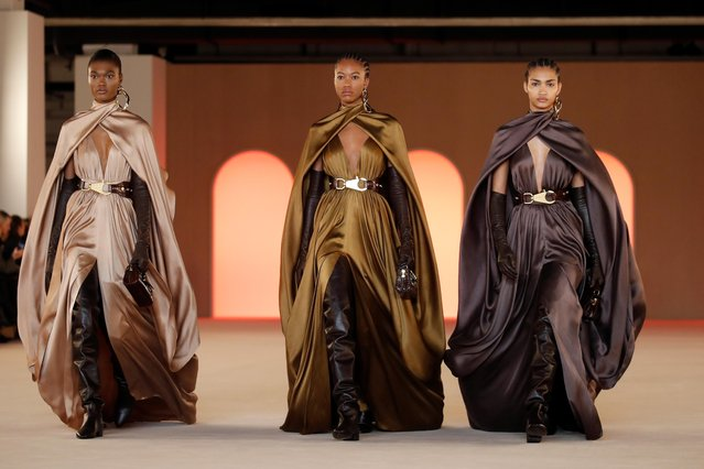 Models present creations by designer Olivier Rousteing as part of his Fall/Winter 2020/21 women's ready-to-wear collection show for fashion house Balmain during Paris Fashion Week in Paris, France, February 28, 2020. (Photo by Gonzalo Fuentes/Reuters)