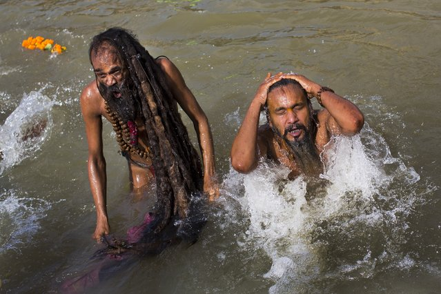 Indian Sadhus, or Hindu holy man, take a bath in the Godavari River during Kumbh Mela, or Pitcher Festival, in Nasik, India, Saturday, August 29, 2015. (Photo by Bernat Armangue/AP Photo)