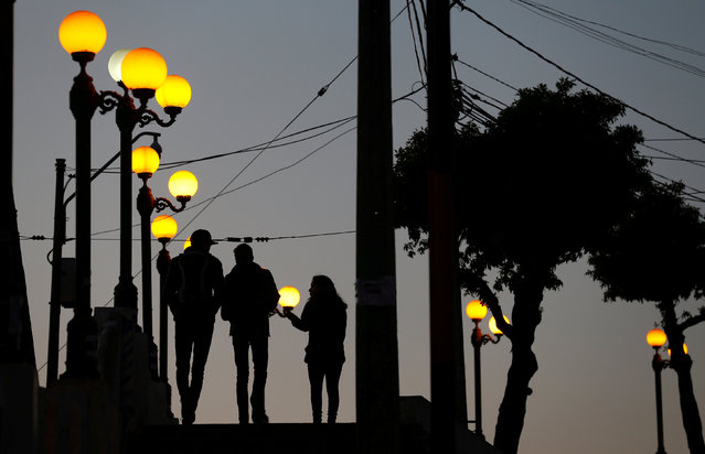 Street light posts are seen in Valparaiso, Chile August 6, 2017. (Photo by Rodrigo Garrido/Reuters)