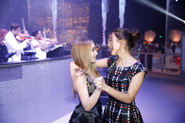 Sabrina Carpenter, left, and Rowan Blanchard attend the Governors Ball for the Television Academy's Creative Arts Emmy Awards at Microsoft Theater on Saturday, September 12, 2015, in Los Angeles. (Photo by Colin Young-Wolff/Invision for the Television Academy/AP Images)