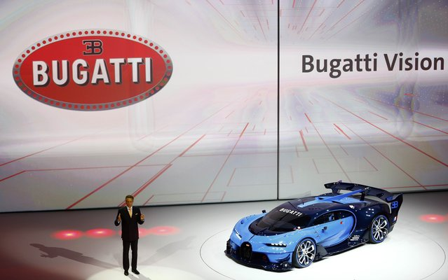 Wolfgang Duerheimer, Bugatti CEO presents the Bugatti Vision concept car during the Volkswagen group night ahead of the Frankfurt Motor Show (IAA) in Frankfurt, Germany, September 14, 2015. (Photo by Kai Pfaffenbach/Reuters)