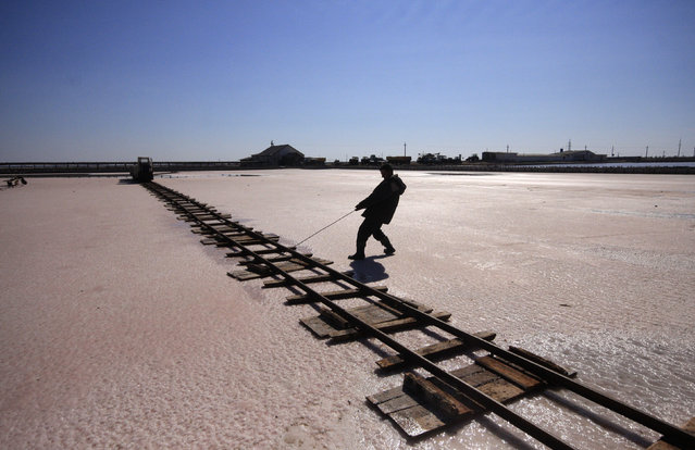 A worker lays rails across the bed of a drained area of a lake used for the production of salt at the Sasyk-Sivash lake near the city of Yevpatoria in Crimea, October 5, 2014. (Photo by Pavel Rebrov/Reuters)