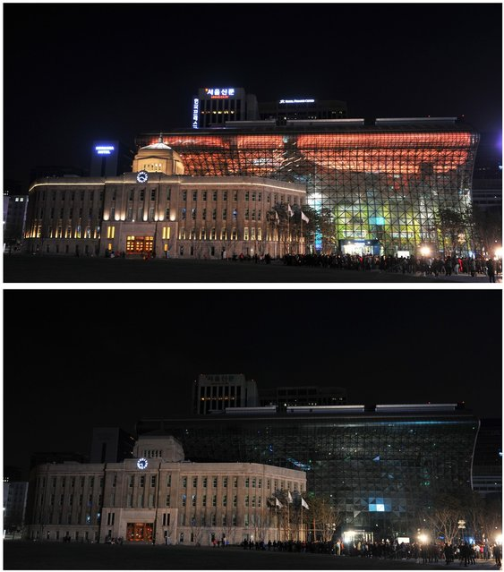 """This photo combo shows the landmark Seoul City Hall illuminated (top) and with lights turned off (bottom) during the 7th annual Earth Hour global warming campaign in Seoul on March 23, 2013. One minute brightly lit, the next plunged into darkness – iconic landmarks around the world will cut their lights on March 23 for the """"Earth Hour"""" campaign against climate change. (Photo by Kim Jae-Hwan/AFP Photo)"""