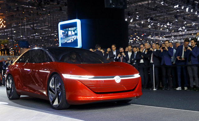 I.D. Vizzion model car from Volkswagen is presented during the press day at the 88th Geneva International Motor Show in Geneva, Switzerland on Tuesday, March 6, 2018. (Photo by Denis Balibouse/Reuters)