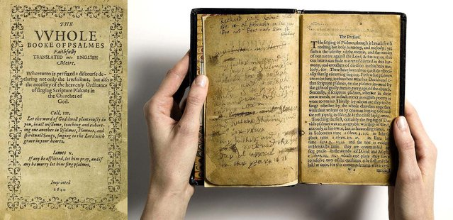 """Sotheby's  describes the Bay Psalm Book, which is the first book ever printed in what is now the United State, as """"the world's most valuable book"""", on April 11, 2013.  Shortly after arriving at Plymouth Rock in 1620, the Separatist Congregationalist Pilgrims set about to translate and produce a version of the Book of Psalms that was a closer paraphrase of the Hebrew original than the one they had carried from England. The first edition of the resulting Bay Psalm Book was printed in Cambridge, Mass. in 1640. Its estimated value is $15/30 million. (Photo by Sotheby's)"""
