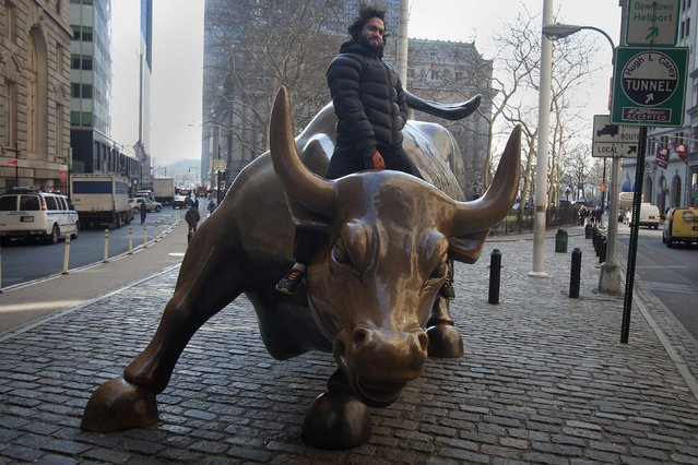 """A tourist mounts the """"Charging Bull"""" statue as he poses for a photo near Wall Street, in the Manhattan borough of New York January 16, 2015. (Photo by Carlo Allegri/Reuters)"""