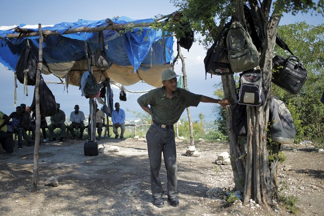 A man in military style clothes stands by a tree during a training day for former soldiers and volunteers in a makeshift camp in the outskirts of Port-au-Prince, Haiti, October 30, 2015. (Photo by Andres Martinez Casares/Reuters)
