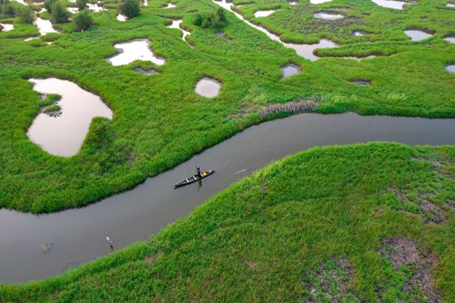 A fisherman makes his way through wetlands in Accra, the capital of Ghana on August 9, 2021. (Photo by Muntaka Chasant/Rex Features/Shutterstock)