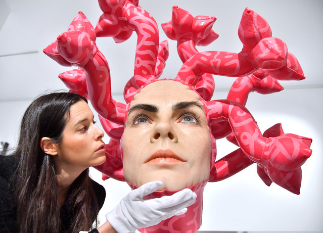 Olympe, the latest creation by artist Aspencrow, is unveiled at JD Malat gallery in London, England on March 27, 2019. It is a sculpture of Cara Delevingne based on the Greek mythological monster Medusa. (Photo by Anthony Harvey/Rex Features/Shutterstock)