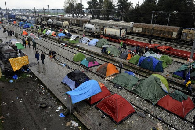 Tents of migrants waiting to cross the Greek-Macedonian border are pictured near the village of Idomeni, Greece, March 15, 2016. (Photo by Alkis Konstantinidis/Reuters)