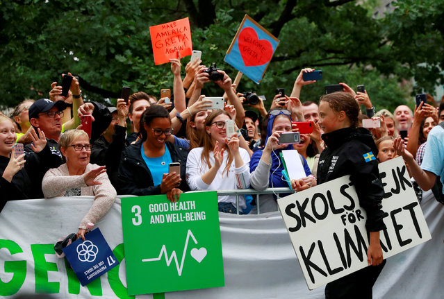 Swedish 16-year-old activist Greta Thunberg completes her trans-Atlantic crossing in order to attend a United Nations summit on climate change in New York, U.S., August 28, 2019. (Photo by Andrew Kelly/Reuters)