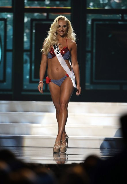 Miss Idaho, Claira Hollingsworth, competes in the bathing suit competition during the preliminary round of the 2015 Miss USA Pageant in Baton Rouge, La., Wednesday, July 8, 2015. (Photo by Gerald Herbert/AP Photo)