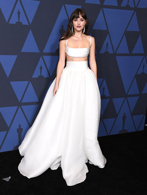 Dakota Johnson arrives at the Academy Of Motion Picture Arts And Sciences' 11th Annual Governors Awards at The Ray Dolby Ballroom at Hollywood & Highland Center on October 27, 2019 in Hollywood, California. (Photo by Steve Granitz/WireImage)