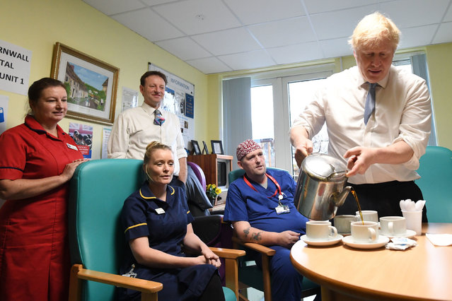 Prime Minister Boris Johnson meets staff and patients during a visit to West Cornwall Community Hospital, in Penzance, Cornwall, whilst on the General Election campaign trail on November 27, 2019. (Photo by Stefan Rousseau/PA Images via Getty Images)