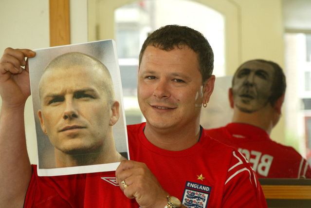 Nick Prior (34) from Bognor Regis has had his local barber, Daren Terry, shave a portrait of David Beckham onto the the back of his head. He says he will keep it like this as long as England are still in Euro 2004. (Photo by Southern News & Pictures)
