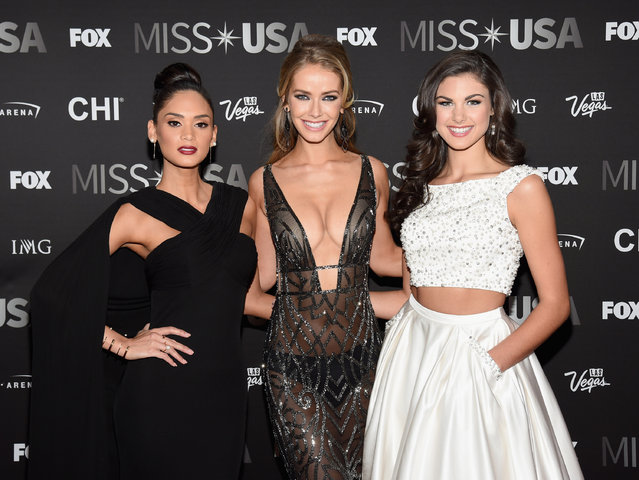 (L-R) Miss Universe 2015 Pia Wurtzbach, Miss USA 2015 Olivia Jordan and Miss Teen USA 2015 Katherine Haik attend the 2016 Miss USA pageant at T-Mobile Arena on June 5, 2016 in Las Vegas, Nevada. (Photo by Ethan Miller/Getty Images)