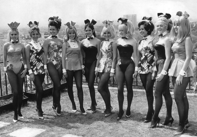 Bunny Girls in costume pose on the roof of the Playboy Club, London, 22nd June 1976. (Photo by Aubrey Hart/Evening Standard/Getty Images)